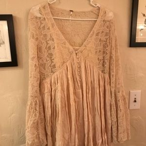 Cream free people bell sleeve lace dress
